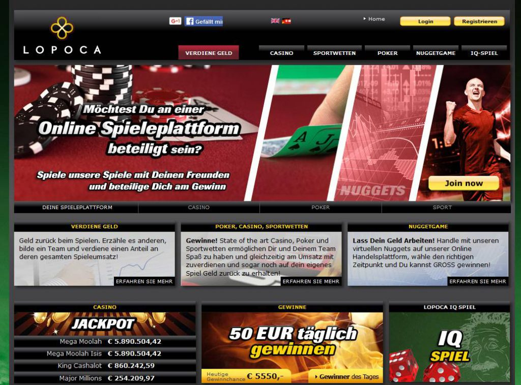 Lopoca Gaming - Sportwetten Online Casino Games mit Cash Back
