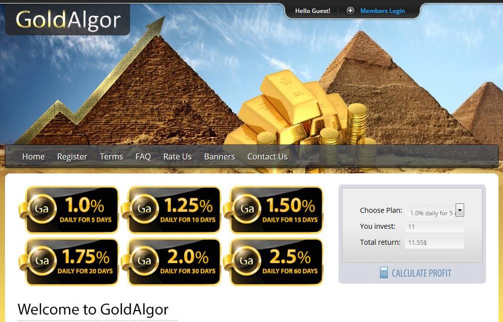 Gold Algor - GoldAlgor HYYIP vom Admin von IntAlgor